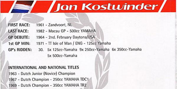 Jan Kostwinder Rennerfolge