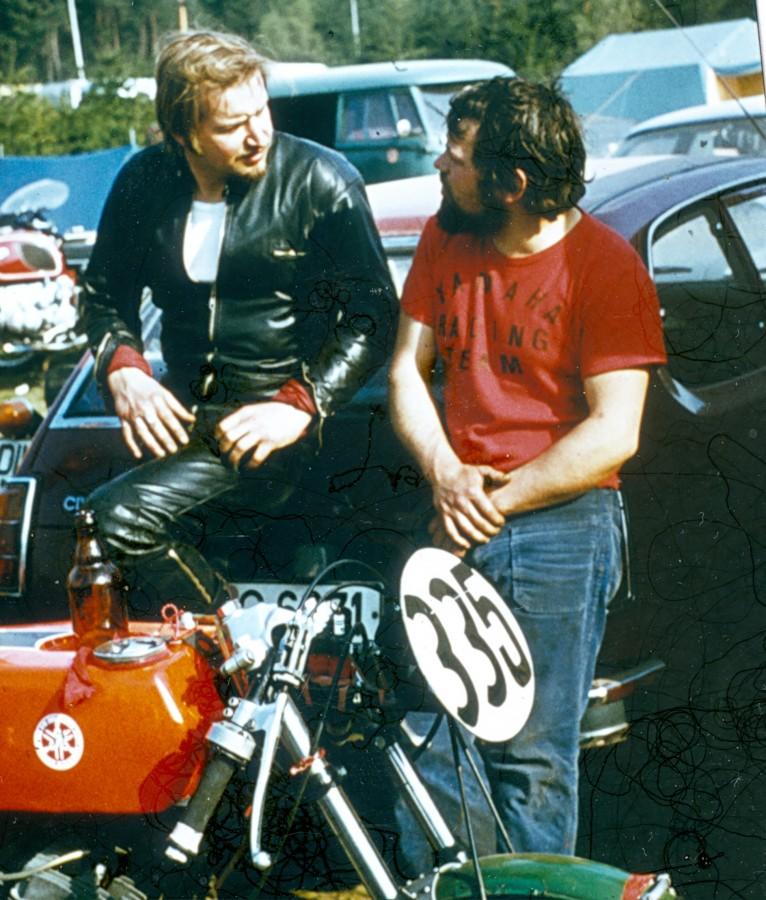 Hockenheimring 1973 Yamaha 350 Rennfahrer Freddy Gabriel & Winni Scheibe