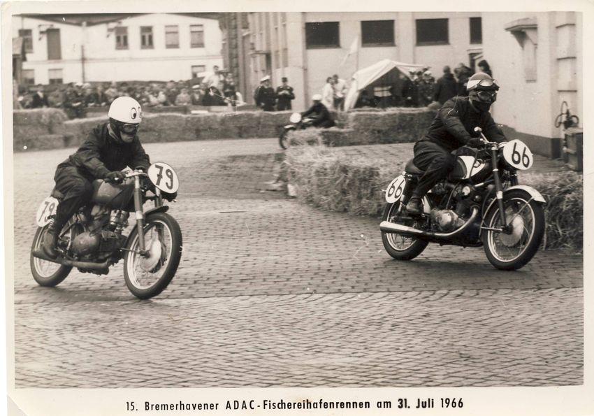 1966 Bremerhaven, erstes Rennen von Rolf Minhoff mit einer Motobi