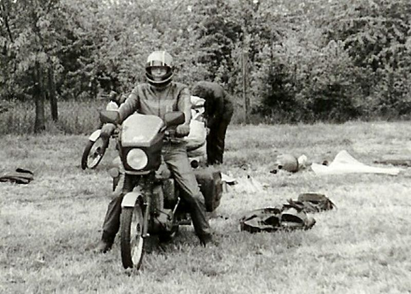 Abfahrt mit MZ nach Rennen Horice 1983