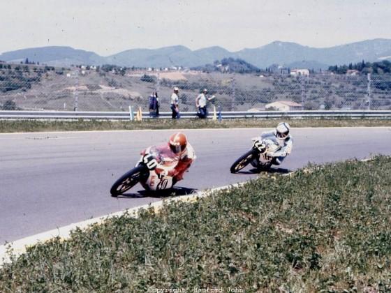 Otello Buscherini (Malanca 125 #40), Paolo Pileri (Morbidelli 125 #22) Mugello 1976