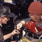 Nobby Clark und Fahrer Dave Roper 1992 auf dem Roebling Road Raceway/USA